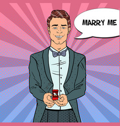 Pop art handsome man with wedding ring vector