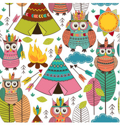Seamless pattern with tribal owls day vector
