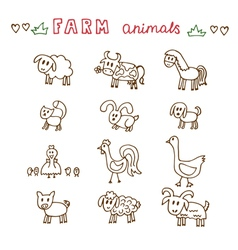 Set of hand drawn farm animals sheep cow horse pig vector