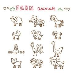 Set of hand drawn farm animals Sheep cow horse pig vector image vector image