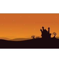 Silhouette of halloween scary house vector