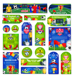 soccer or football sport club tag and label design vector image