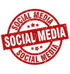 Social media round red grunge stamp vector