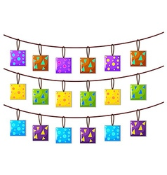 Square ornaments hanging on the rope vector