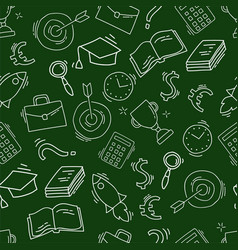 Study seamless pattern with school accessories vector