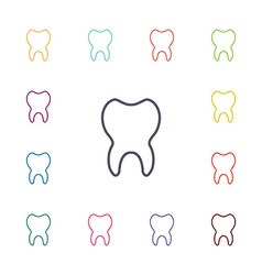 tooth flat icons set vector image