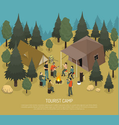 tourist camp isometric vector image