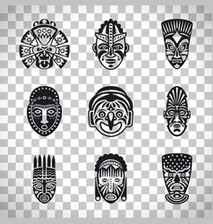 Tribal mask icons on transparent background vector