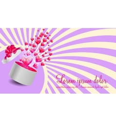 Valentines Day Card with Gift Box and Heart Shaped vector image