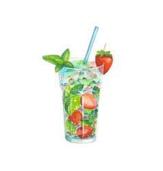 watercolor strawberry mojito cocktail vector image vector image