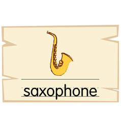 wordcard template for word saxophone vector image