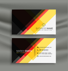 Yellow red and black creative business card design vector