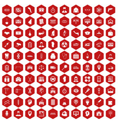 100 business day icons hexagon red vector