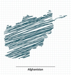 Doodle sketch of Afghanistan map vector image