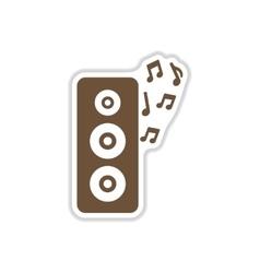 Paper sticker on white background musical speaker vector