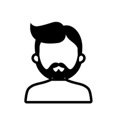 Character man bearded hairstyle outline vector
