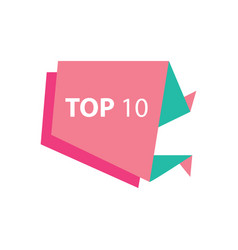 Top10 text in label pink and green vector