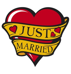 Just married design-heart vector image