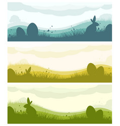 Easter banners with silhouettes vector