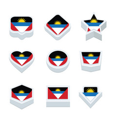 Angola flags icons and button set nine styles vector