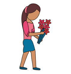 beautiful mother with flower celebration vector image