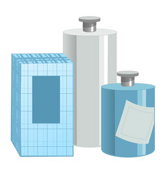 Box and bottle with perfume lotion isolated vector