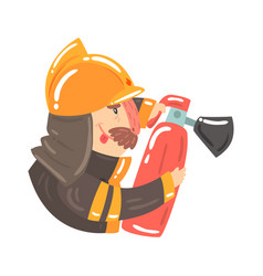 Firefighter in safety helmet and protective suit vector