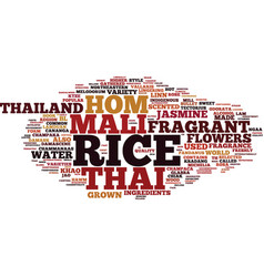 Thai style fragrant water and thai hom mali rice vector