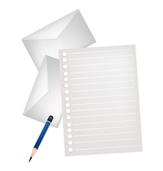Two pencil lying on a blank page vector