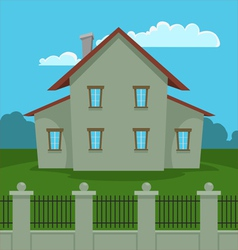 House with fence vector