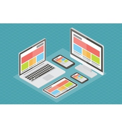 Responsive web design computer equipment 3d vector