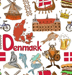 Sketch denmark seamless pattern vector