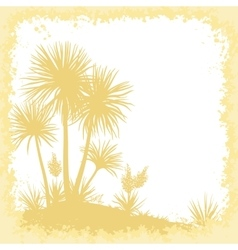 Palms flowers and frame of blots silhouettes vector