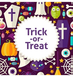Flat pattern halloween trick or treat background vector
