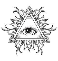 All seeing eye pyramid symbol in tattoo vector