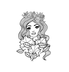 Black and white outline girl with fall leaves vector image vector image