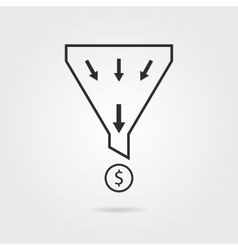 Black sales funnel with coin and shadow vector