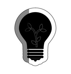 bulb light with leafs ecology symbol vector image