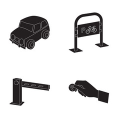 car parking barrier bicycle parking place coin vector image vector image