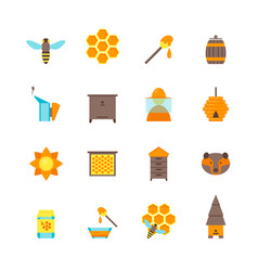 Cartoon bee color icons set vector