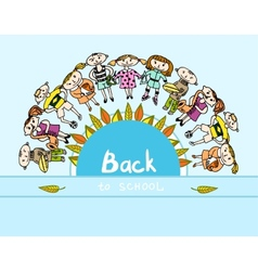 Decorative back to school kids background vector image