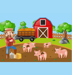 Farmer and pigs in the mud field vector