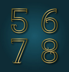 Five six seven eight shiny golden numbers with vector