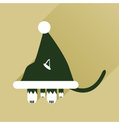 Flat icon with long shadow cat in santa hat vector