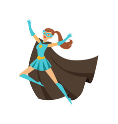 girl superhero in classic comics costume with cape vector image vector image