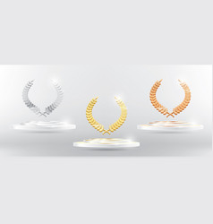 gold silver bronze laurel wreath on platform vector image