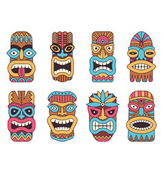 hawaiian tiki god tribal totem vector image