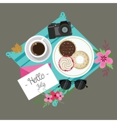 Hello july welcome spring summer session donuts vector
