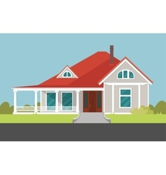 House with red roof mansion vector