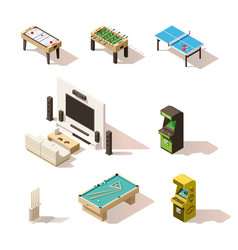 isometric low poly games set vector image vector image
